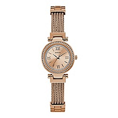 Guess - Ladies rose gold analogue watch W1009L3