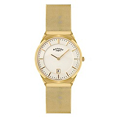 Rotary - Men's gold plated mesh watch