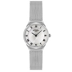Rotary - Ladies white case mesh watch
