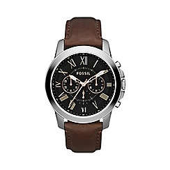 Fossil - Men's chronograph leather strap watch from the grant range fs4813