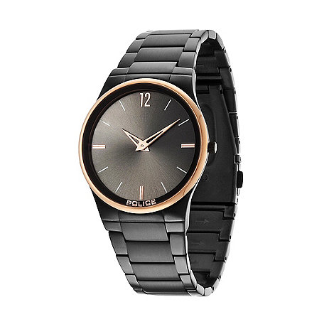 Police - Men+s black and rose gold bezel black bracelet horizon watch