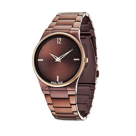 Police - Men+s black and rose gold bezel brown bracelet horizon watch