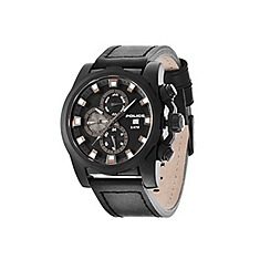 Police - Men's speedster black multifunctional dial watch with black leather strap