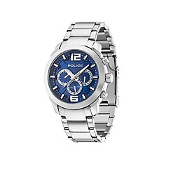Police - Men's triumph stainless steel bracelet watch with blue multifunctional dial
