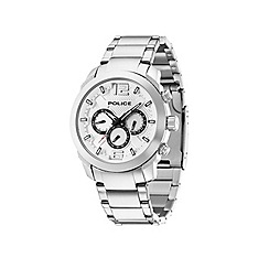 Police - Men's triumph stainless steel bracelet watch with silver multifunctional dial