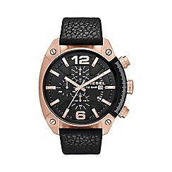 Diesel - Men's overflow black leather strap rose gold case