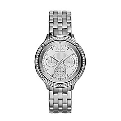 Armani Exchange - Ladies silver stone-set chronograph watch ax5401