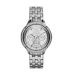 Armani Exchange - Ladies silver stone-set chronograph watch