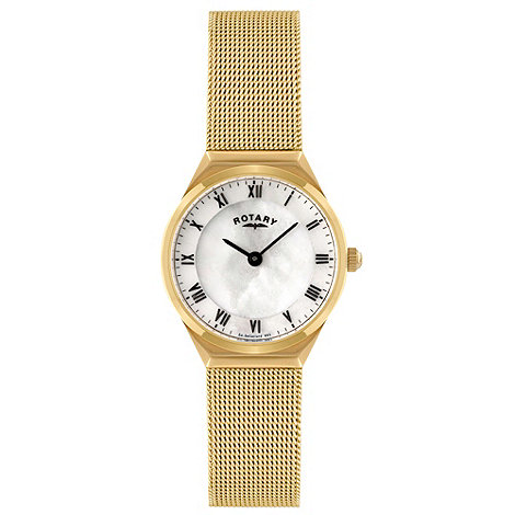 Rotary - Ladies gold plated mesh watch