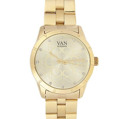 Van Peterson 925 - Designer ladies gold swirl watch