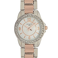 Infinite - Ladies rose gold mixed plated bracelet watch