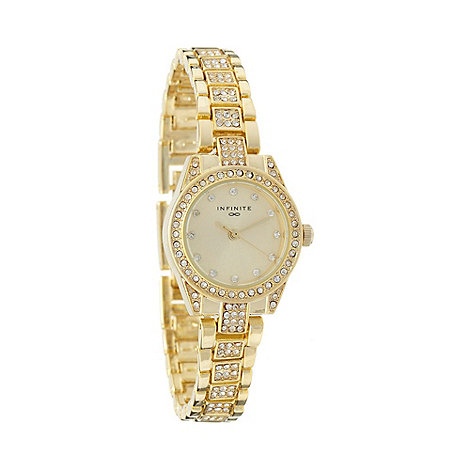 Infinite - Ladies gold diamante bracelet watch