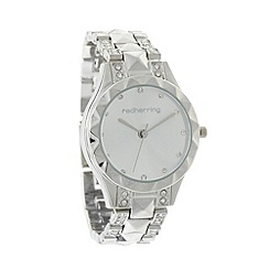 Red Herring - Ladies silver diamante studded watch