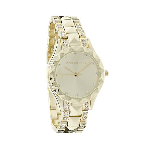 Red Herring - Ladies gold diamante studded watch