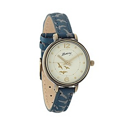 Mantaray - Ladies navy bird printed coin case watch