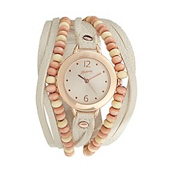 Mantaray - Ladies cream grained multi strap beaded watch
