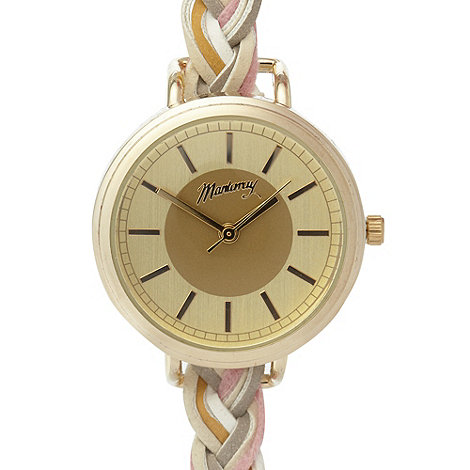 Mantaray - Ladies gold plaited strap watch