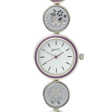 Mantaray - Ladies silver enamel butterfly watch