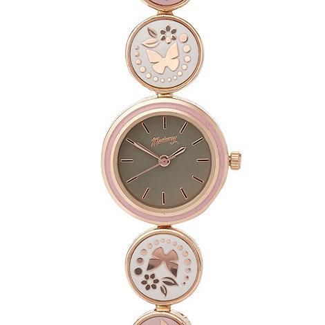 Mantaray - Ladies rose gold enamel butterfly watch