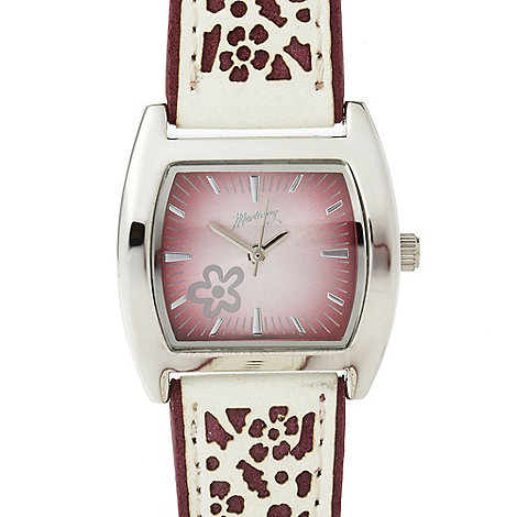 Mantaray - Ladies pink laser cut strap watch