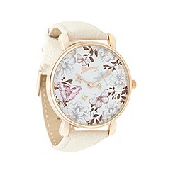 Mantaray - Ladies white butterfly dial strap watch