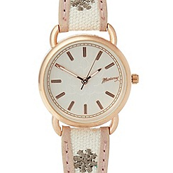 Mantaray - Ladies white embroidered strap watch