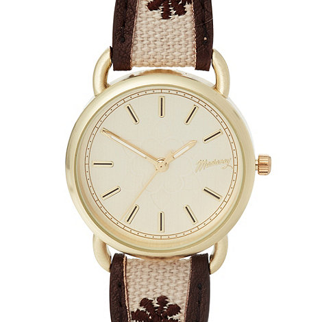 Mantaray - Ladies brown embroidered strap watch