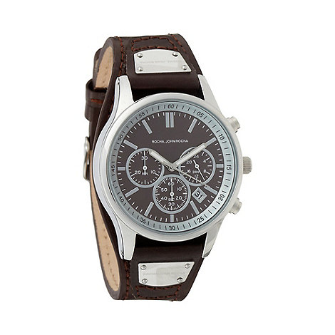 RJR.John Rocha - Designer men+s chocolate leather chronograph watch