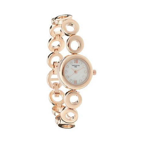 Infinite - Ladies rose gold hoop diamante watch