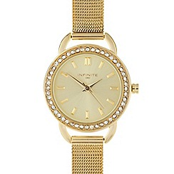 Infinite - Ladies gold mesh watch