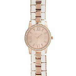 Red Herring - Ladies rose gold silicone link diamante watch