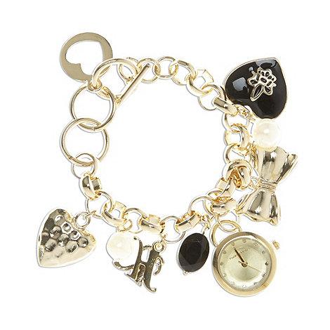 Red Herring - Ladies gold charm bracelet watch