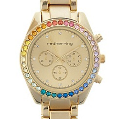 Red Herring - Ladies gold rainbow bezel watch