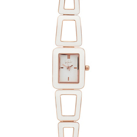 Principles by Ben de Lisi - Ladies designer white enamel bracelet watch
