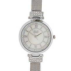 Van Peterson 925 - Designer ladies silver mesh bracelet watch