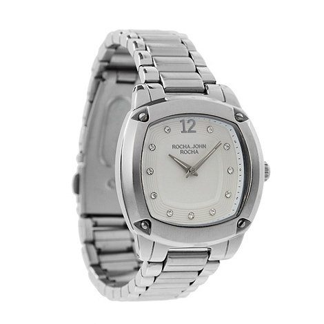 RJR.John Rocha - Designer ladies silver square diamante watch