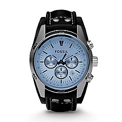 Fossil - Men's  silver coloured round dial, blue face watch