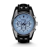 Men's  silver coloured round dial, blue face watch