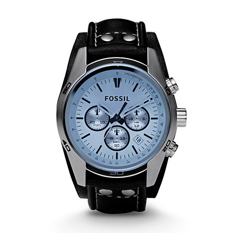 Fossil - Men+s  silver coloured round dial, blue face watch