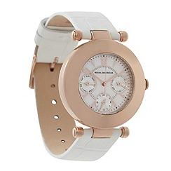 RJR.John Rocha - Designer ladies white leather polished round watch