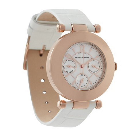 RJR.John Rocha - Designer ladies white leather polished round watch