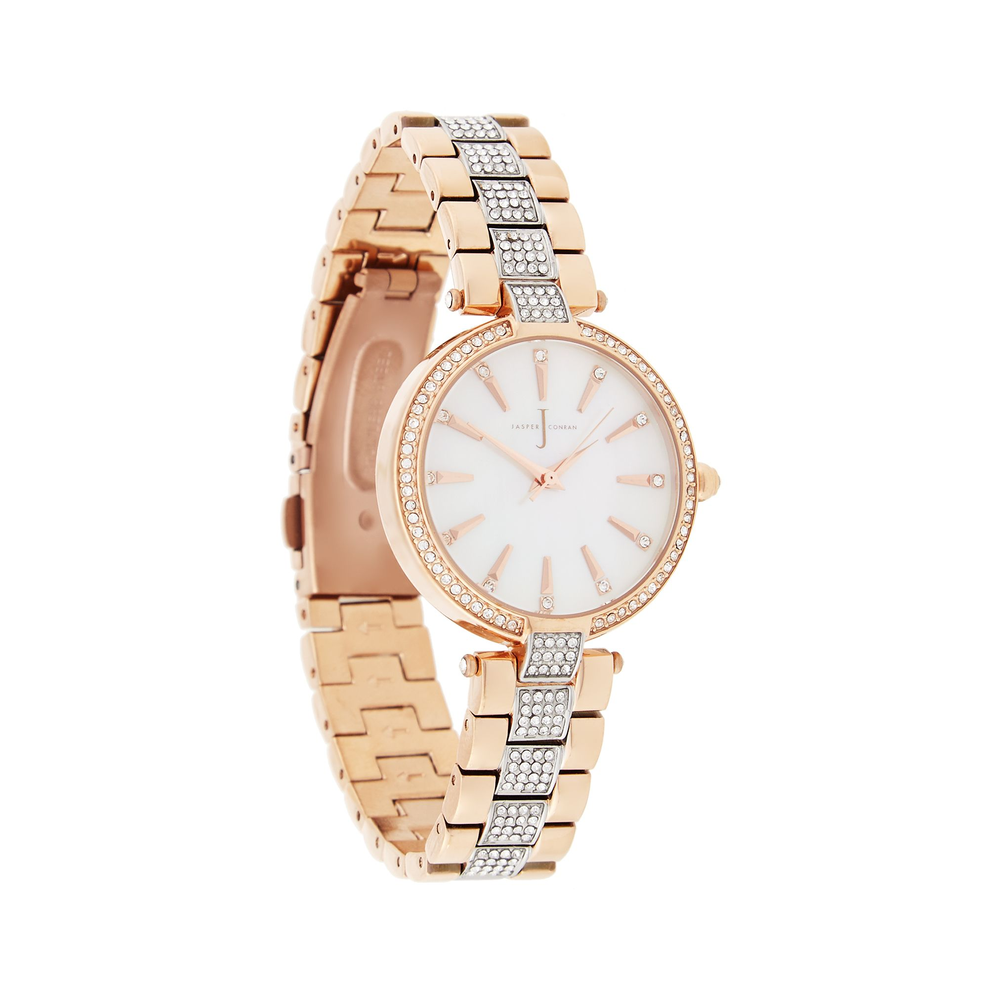 J By Jasper Conran Designer Ladies Rose Gold Crystal Watch ...