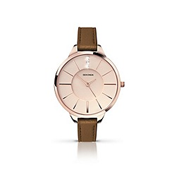 Sekonda - Ladies rose gold plated case brown strap watch