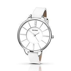 Sekonda - Ladies round chrome dial white strap watch