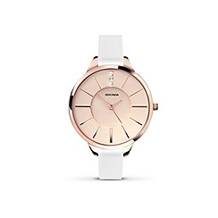 Sekonda - Ladies rose gold plated case white strap watch