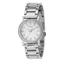 DKNY - Ladies silver coloured round mother of pearl dial watch