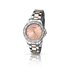 Sekonda - Ladies chrome case with rose gold two-tone bracelet
