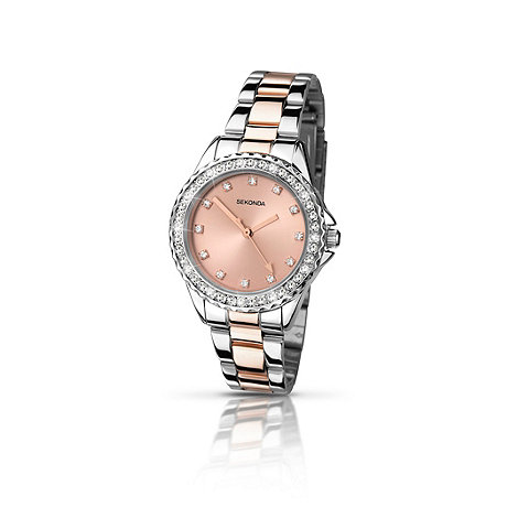 Sekonda Ladies chrome case with rose gold two-tone ...