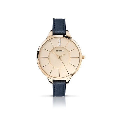 Sekonda - Ladies gold plated case navy strap watch