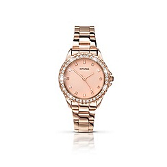 Sekonda - Ladies round rose gold plated bracelet watch
